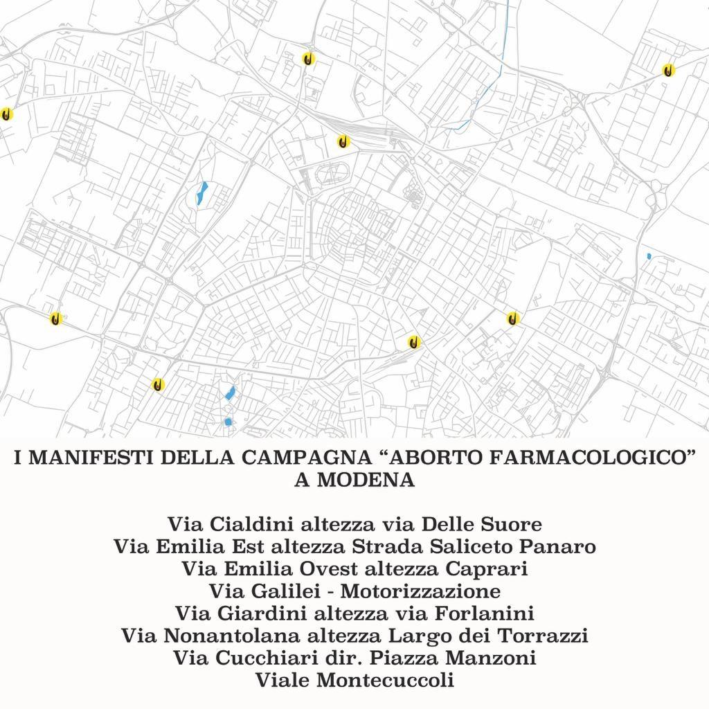 Le postazioni di affissione della Campagna Ru486  a Modena
